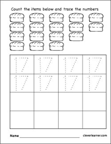 Coloring Number 17 Preschool Worksheets Coloring Best - printable coloring pages for preschool number 17