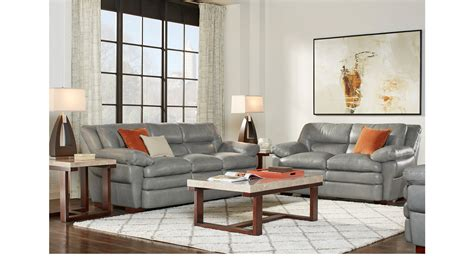 Gray Leather Living Room Sets 2 899 99 Aventino Gray Leather 3 Pc Living Room Classic Transitional