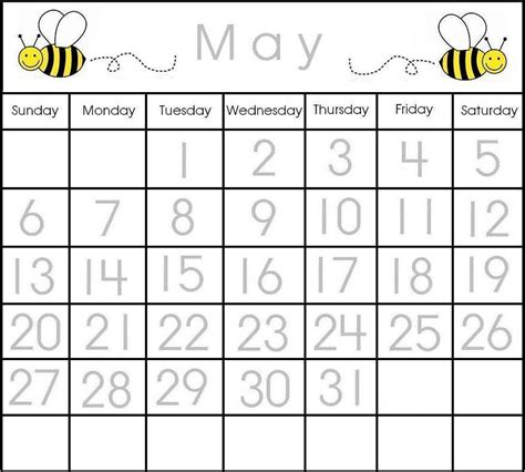 Printable Calendar Preschool | may traceable calendar printable calendar items pinterest