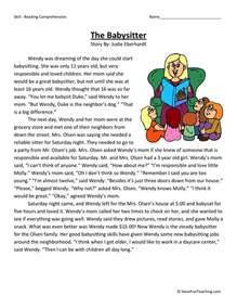 reading comprehension worksheet the babysitter