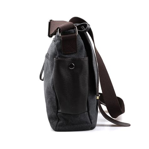 tas selempang pria korean canvas messenger bag black