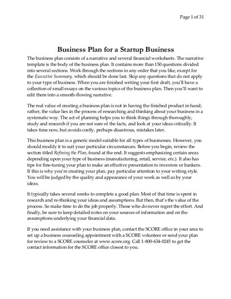 business narrative template how to write bplan