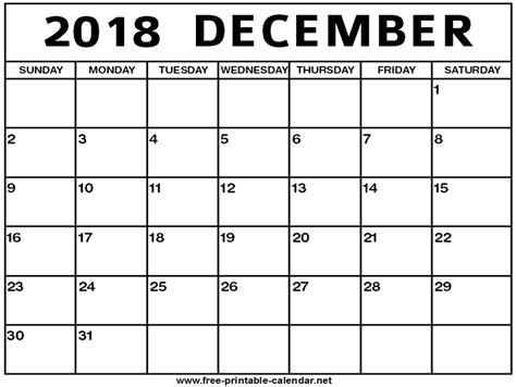 printable calendar for december 2018 december 2018 calendar print calendar from free