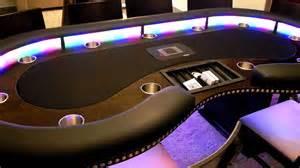 Custom Gaming Table Kidney Shaped Tournament Style Custom Lighted Poker Table