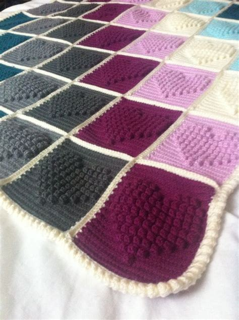 bobble blanket knit pattern crochet hearts stitches and blankets on