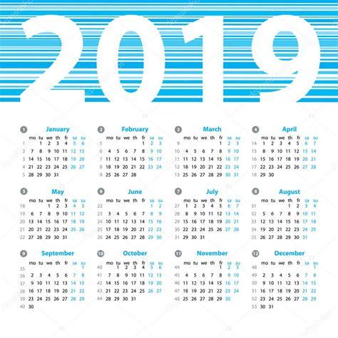 Calendario 2019 Italiano Plantilla De Dise 241 O De Vector Calendario 2019 A 241 O Con