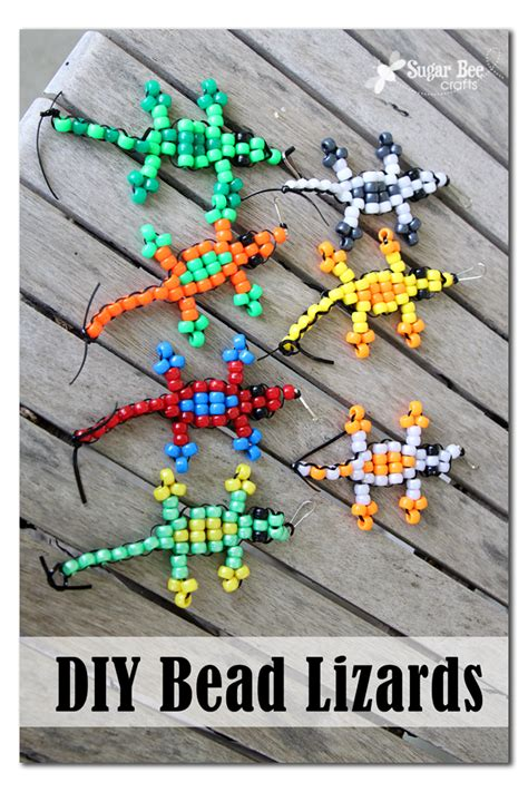 bead crafts pony bead lizard tutorial sugar bee crafts