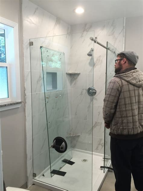 Installing Shower Door Custom Glass Shower And Shower Door Enclosures Frameless Glass Shower And Tub Enclosure