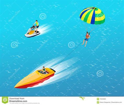 boat parachute man parasailing with parachute behind the motor boat