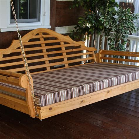 outdoor bed cushion a l furniture malboro 5 foot cedar outdoor swing bed with cushion ultimate patio