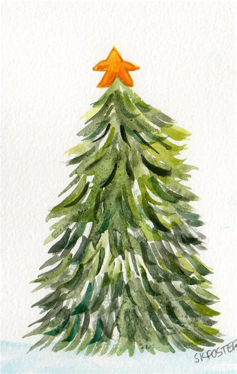 christmas tree painting 4 x 6 original by sharonfosterart