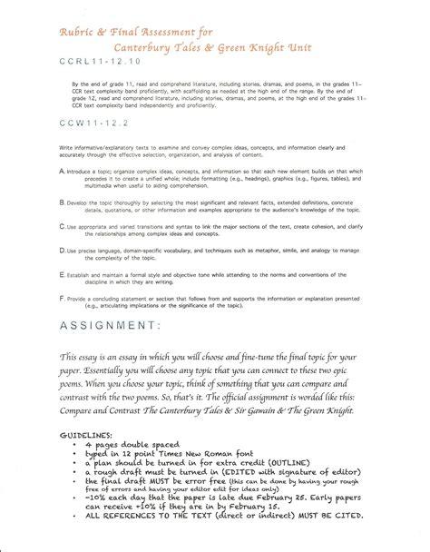 Chaucer Essay by Literature Ela Class Website