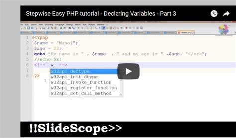 tutorial php variables training archives slide scope