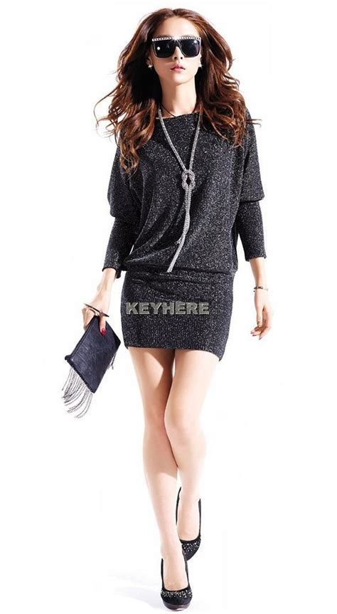 Mini Dress Gaun Import Black Tight Neck Size S 294210 new womens shoulder batwing dolman sleeve tunic