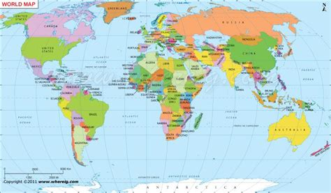 major countries   world map  world map showing