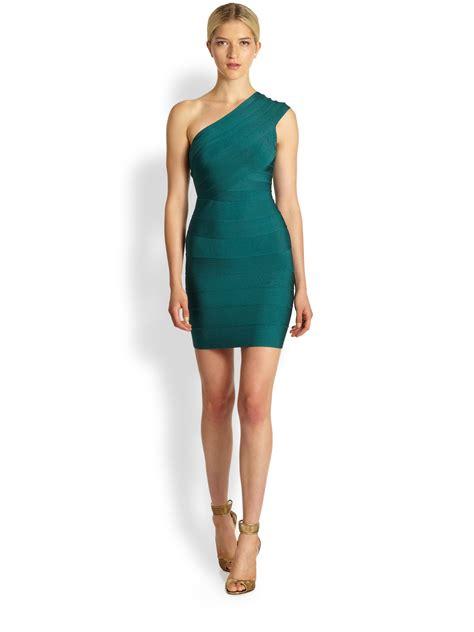 lyst herv 233 l 233 ger one shoulder bandage dress in green