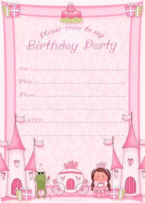 birthday invitation cards template free printable princess birthday invitation template