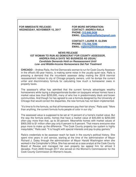 Lasalle County Records Press Release Andrea Raila For Cook County Assessor