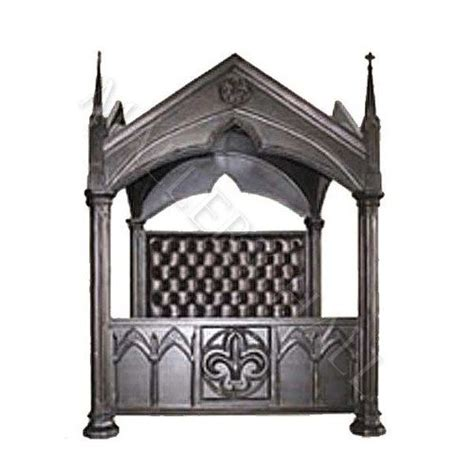 cathedral castle gothic canopy mahogany king bed velvet