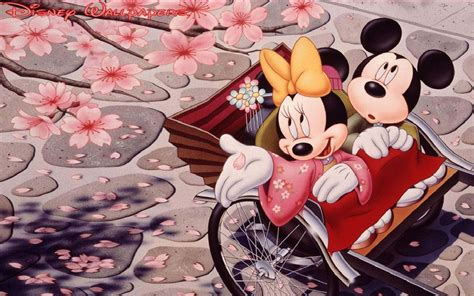 romantic mickey mouse  minnie mouse japanese cherry blossom wallpaper wallpaperscom