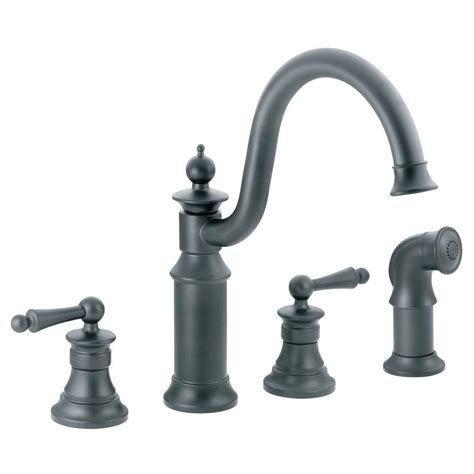 moen waterhill high arc 2 handle standard kitchen faucet with side sprayer in wrought iron