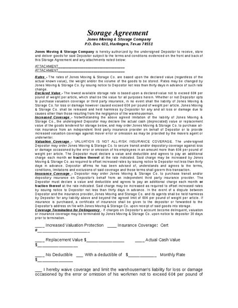 warehouse agreement template goods storage contract template hashdoc