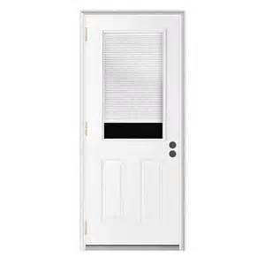 Outswing Exterior Door Shop Reliabilt Blinds Between The Glass Half Lite Prehung Outswing Steel Entry Door Common 36