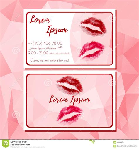 makeup card template template of business card with polygonal stock