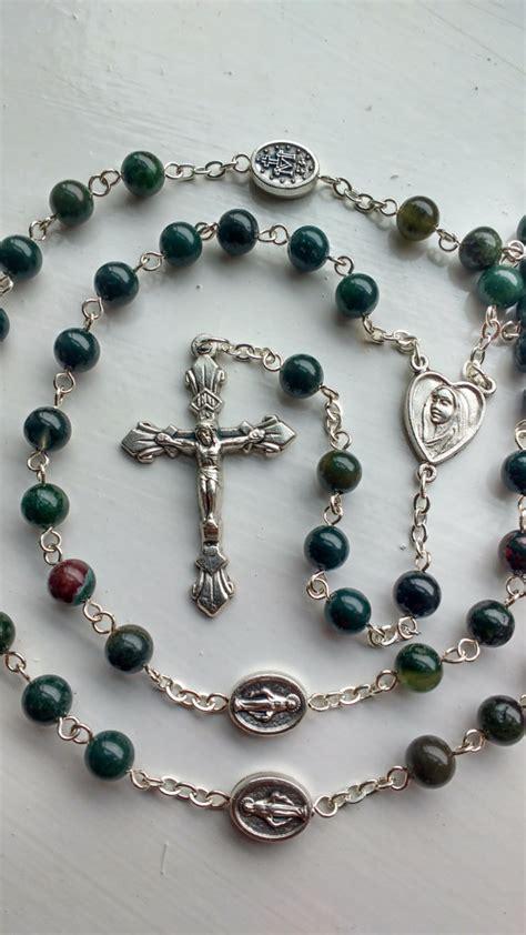 Handmade Rosary - bloodstone rosary handmade rosary by holyspiritrosaries