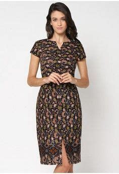 Baju Batik Wanita Sherin Dress Cewek Midi Dress dress from bhatara batik in grey and navy inspiring style batiks