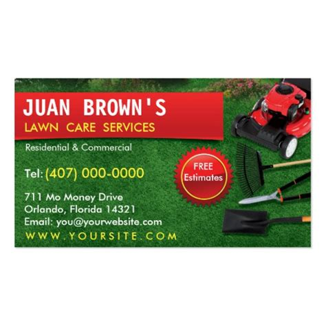 lawn care business card templates landscaping lawn care mower business card template zazzle