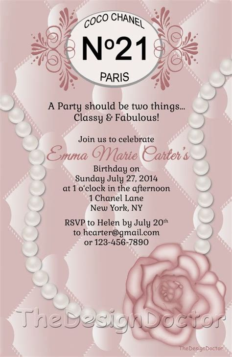 Custom Hand Drawn Classy And Fabulous Pink Coco Chanel Inspired Birthday Party Invitation Chanel Invitation Template