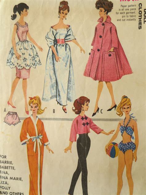 pattern for barbie doll jeans vintage mccall s 6260 sewing pattern 1960s doll clothes