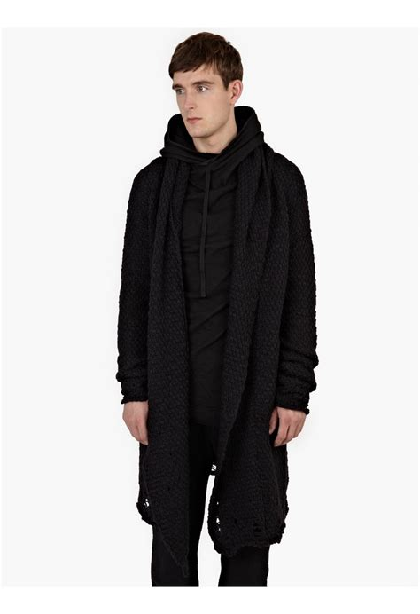 Thom Krom Black Merino Wool Draped Cardigan In Black For