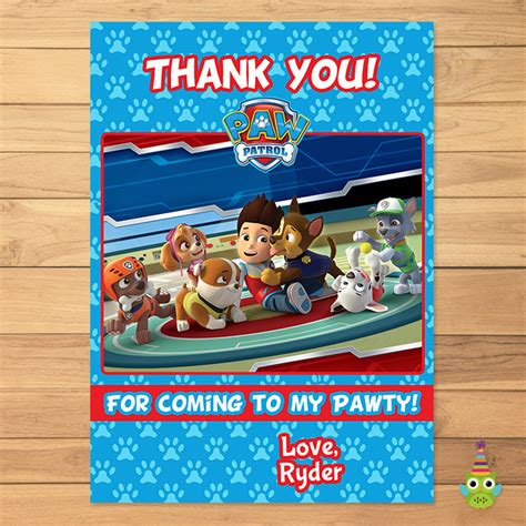 printable thank you cards paw patrol paw patrol thank you card blue paw by partyprintables37
