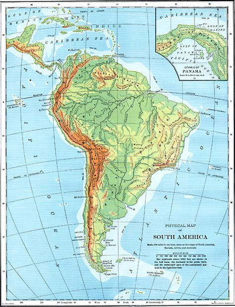 south america physical map south america physical map