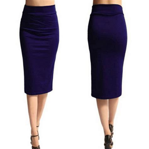 new womens midi pencil skirt plain jersey bodycon