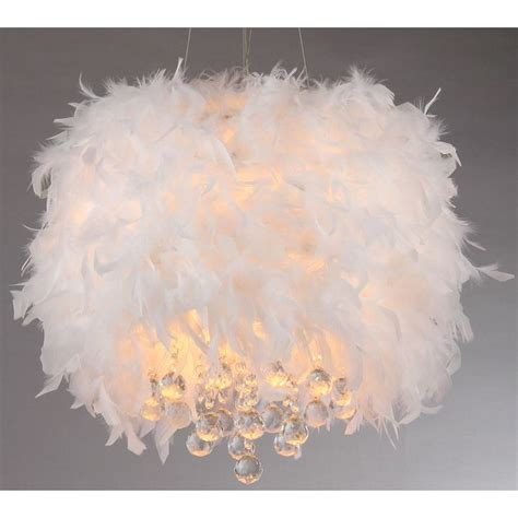 Iglesias Fluffy White Feathers And Crystal 3 Light Pendant White Fluffy Lights