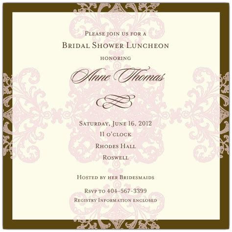 Formal pattern pink bridal shower invitations paperstyle