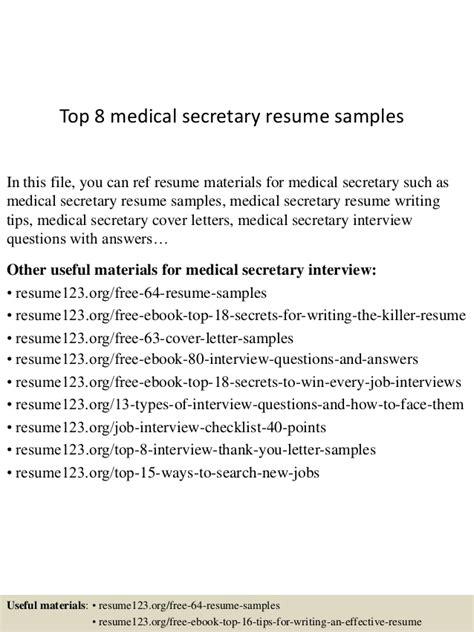 top 8 medical secretary resume sles