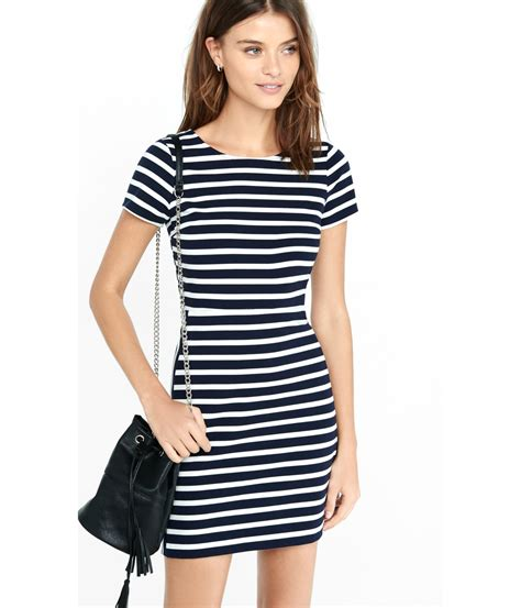 Striped Dress lyst express navy and white striped aline mini dress in