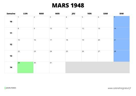 Calendrier De 1948 Calendrier De Mars 1948 224 Imprimer