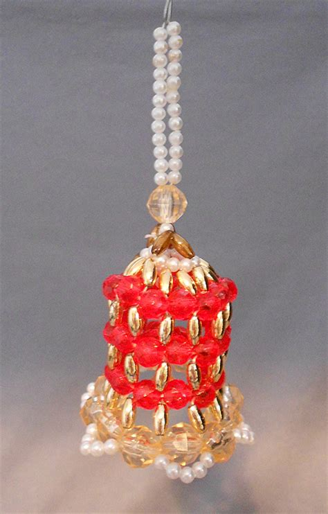 beaded bell ornament 1960s vintage bell shaped beaded ornament in