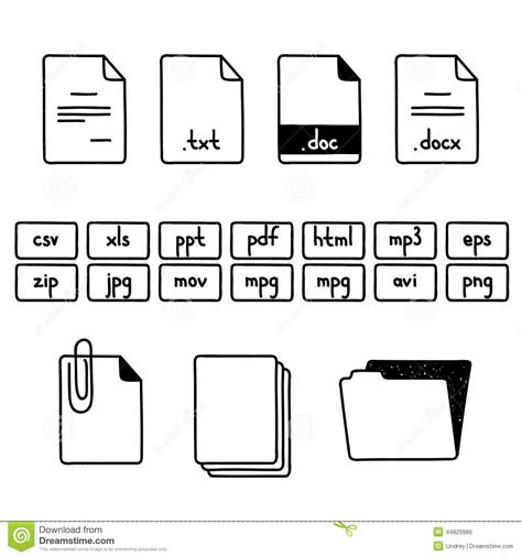 how to create doodle doc draw doodle sketch set of document file stock vector