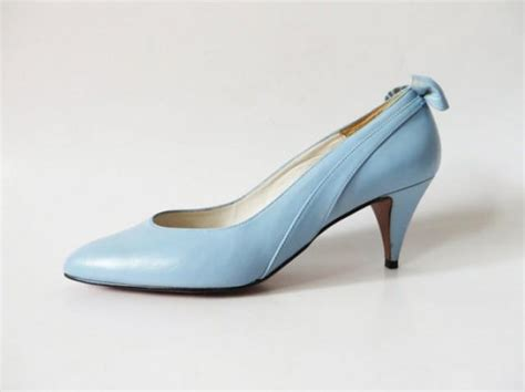 light lade vintage 80s light blue wedding shoes with bow genuine