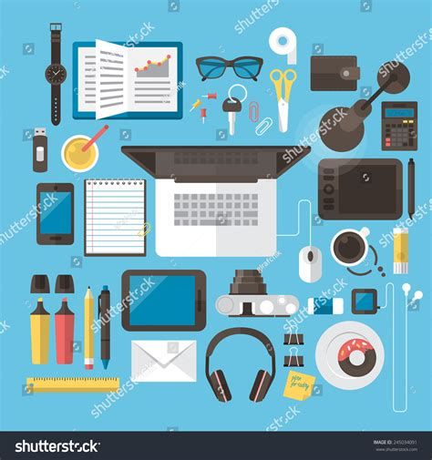 icon design office office desk workspace concept flat modern stock vector