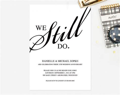 "Vow Renewal Invitation   ""We Still Do"" Black And White"