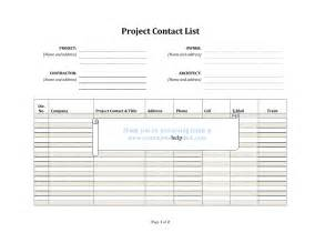 Project Contact List Template Contractors Help Desk Forms