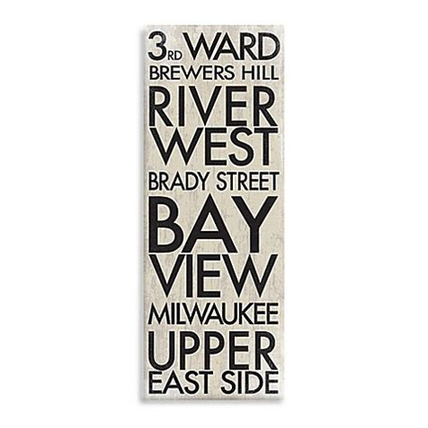 bed bath and beyond milwaukee buy milwaukee landmark typography canvas wall art from bed
