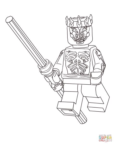 Lego Wars Darth Maul Coloring Page Free Printable